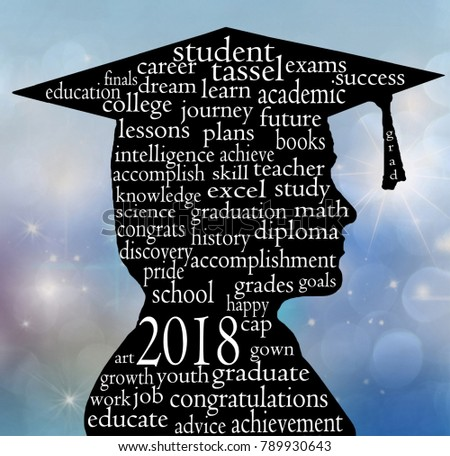 boy side profile silhouette wearing 2018 graduation cap and word cloud  illustration on gradient blue bokeh bc1fa4d47560