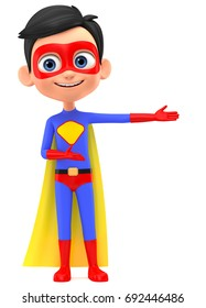 Boy Superman indicates hands on an empty space. 3d render illustration.