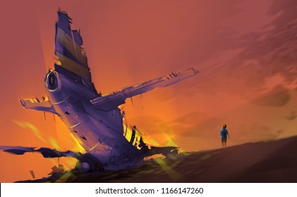 a boy, survivor from airplane clashed against mountains in sunset, digital illustration art painting design style.