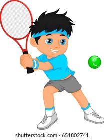 boy tennis player cartoon