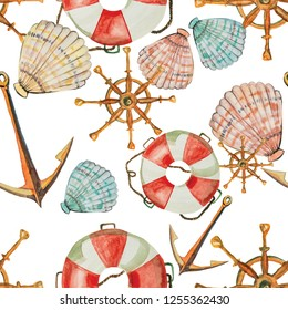Boy textile. Background ocean icon  summer watercolor sea theme lifebuoy sea shells anchor steering wheel coral color seamless texture. Set  romantic travel. Pattern marina. isolated on white