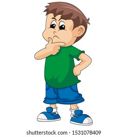 A boy is thinking cartoon image illustration