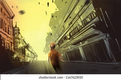 a boy walking in abandon town, digital illustration art painting design style.
