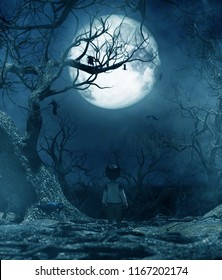 Boy walking alone at night under the moonlight,boy lost in the haunted forest,3d rendering for book cover or book illustration