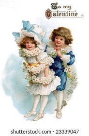 Boy wrapping a flower garland around his young girl friend - a circa 1890 Victorian greeting card illustration