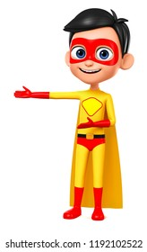 Boy with yellow suit superhero indicates hand in the empty space. 3d render.