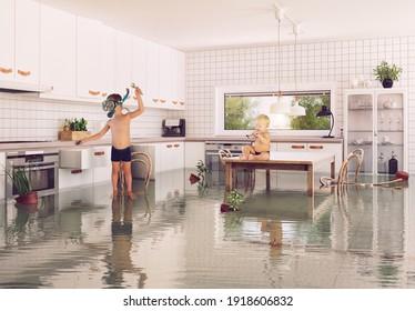 Jungen und Überschwemmungen im Zimmer. 3D- und Fotokombinationsgrafien