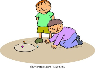 boys playing with marbles at the park