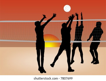 boys playing volleyball on sand illustration