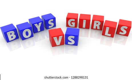 Boys vs girls concept on toy cubes in blue and red.3d illustration