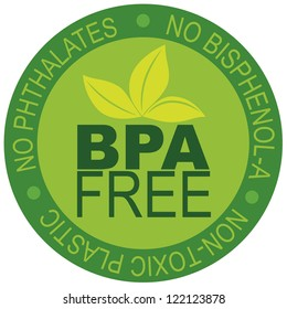 BPA Bisphenol-A and Phthalates Free Label for Non Toxic Plastic Illustration Isolated on White Background Raster Vector