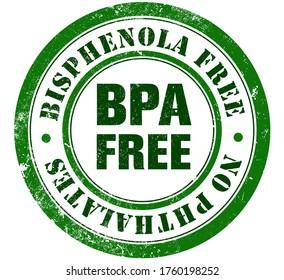 BPA free grunge stamp, in english language. (Bisphenola free, no phthalates and non toxic plastic).
