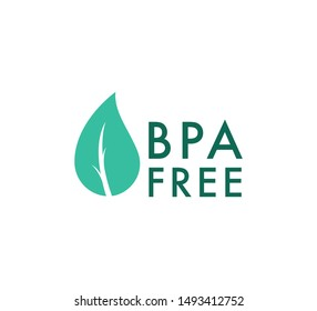BPA free icon, Safe food package stamp. Healthy BPA free check mark leaf and drop seal. No toxic approved icon, environment safety concept. Bisphenol A free, healthy symbol for website, package