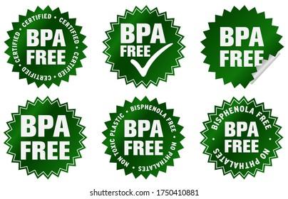 BPA free label or sticker, in english language. (Bisphenola free, no phthalates and non toxic plastic).