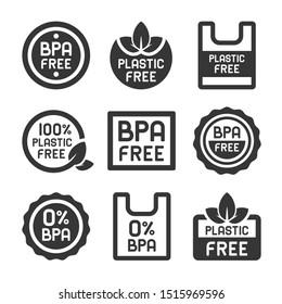 BPA Plastic Free Icons Set on White Background.