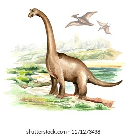 Brachiosaurus dinosaur in prehistorical landscape. Watercolor hand drawn illustration, isolated on white background