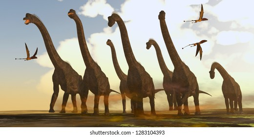 Brachiosaurus Dinosaurs on Trek 3D illustration - Dimorphodon reptiles fly past a herd of Brachiosaurus dinosaurs during the Jurassic Period.
