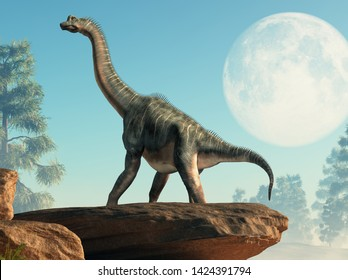 Brachiosaurus was a sauropod dinosaur, one of the largest and most popular. It lived in during the Late Jurassic Period. Standing under a full moon. 3D Rendering