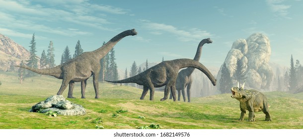 Brachiosaurus species in the nature . This is a 3d render illustration.