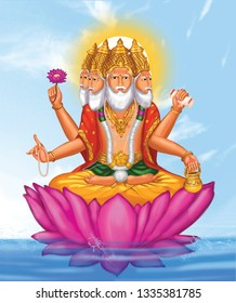 Brahma is the God of creation. He is one among the Hindu Trinity. He is seated on a lotus. He has 5 heads and 4 Hands