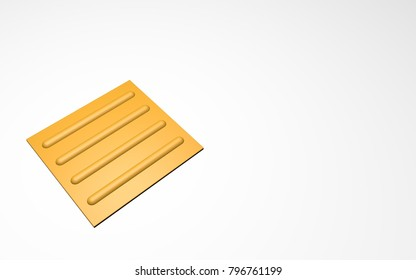 braille block line  yellow road white background 3d style