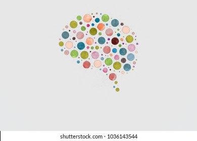 Brain Abstract Sketch Made Of Colored Circles