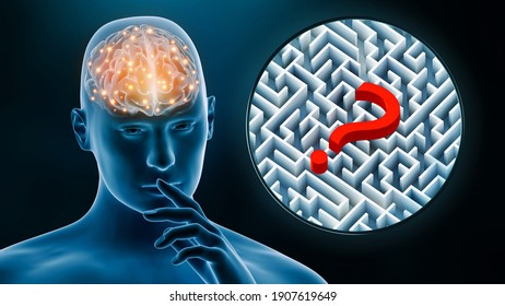 Brain activity of man while thinking 3D rendering illustration. Neuroscience, neurology, anatomy, science, medicine, psychology, intellect, IQ, riddle concept.