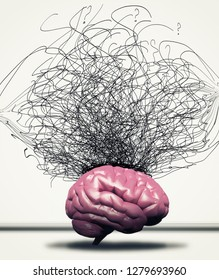 Brain against a chaotic arrows drawn on wall. This is  a 3d render iullustration
