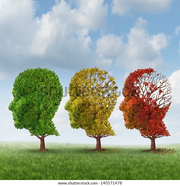 Brain aging and memory loss due to Dementia and Alzheimer's disease as a medical icon of a group of color changing autumn fall trees shaped as a human head losing leaves as intelligence function.
