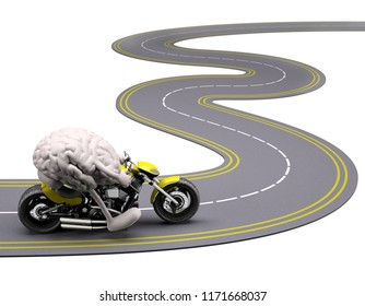 brain with arms and legs on motorbike on the road, 3d illustration