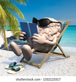 brain with arms, legs, sunglass and sandals on the beach chair reading a book, 3d illustration