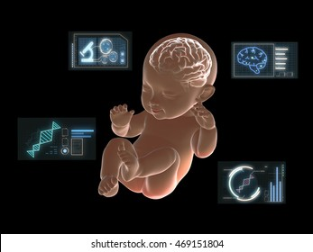 Brain of baby x-ray graphic with graphics research on screen.3D rendering
