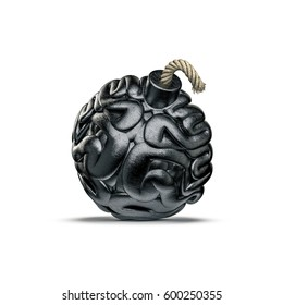 Brain bomb concept / 3D illustration of metal bomb with fuse shaped like human brain