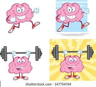 Brain Cartoon Mascot Collection 14. Vector version also available in gallery
