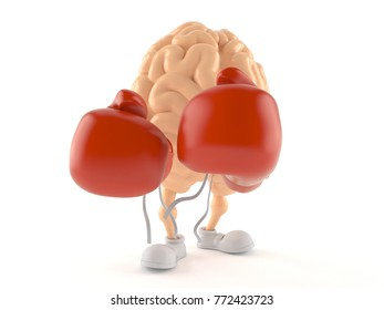 Brain character with boxing gloves isolated on white background. 3d illustration