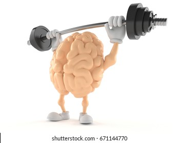 Brain character lifting heavy barbell isolated on white background. 3d illustration