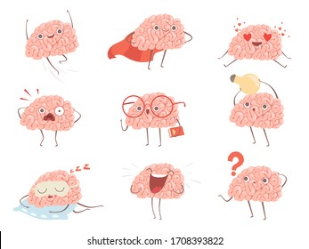 Brain characters. Cartoon mascot making different sport exercises brain activities pictures