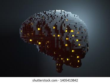 Brain consisting of blocks. Artificial intelligence concept. 3D illustration