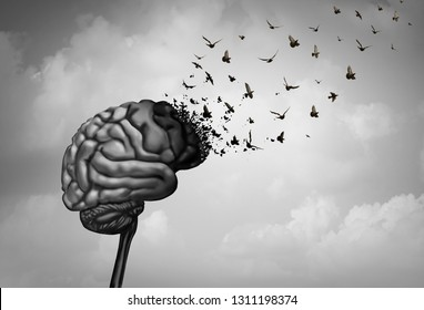 Brain damage and cerebral injury or cognitive function loss due to dementia as alzheimer disease as a neurology mental health concept in a surreal 3D illustration style.
