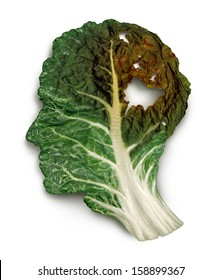 Brain decay disease with memory loss due to Dementia and Alzheimer's illness or cancer as a medical symbol of a green kale leaf shaped as a human head and neurons degenerating fading away.
