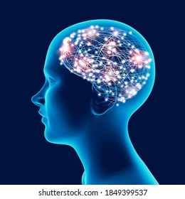 Brain development in children and teens. Stimuli and ideas. How neurons and synapses work. Expansion of mental abilities. Exercises to increase memory. 3d render