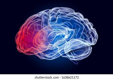 Brain disease concept. Ghost light effect, x-ray hologram. 3D rendering on dark blue background