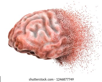 Brain disease or destruction, memory loss concept. 3D rendering isolated on white background