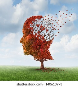 Brain disease with memory loss due to Dementia and Alzheimer's illness as a medical icon of an autumn season  tree shaped as a human head and brain losing leaves as a concept of intelligence decline.