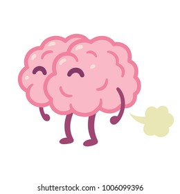 """Brain fart"", stupid idea cartoon drawing. Funny human brain farting illustration."