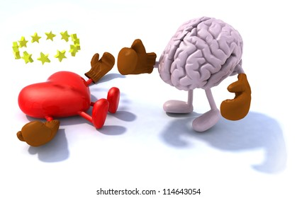 Brain fighting heart, 3d cartoon with boxing gloves