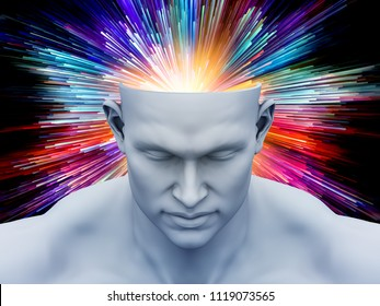 Brain Fog. 3D illustration of human head with color motion trails for subjects on art, psychology, creativity, imagination and dreams.