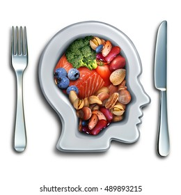 Brain food to boost brainpower nutrition concept as a group of nutritious nuts fish vegetables and berries rich in omega-3 fatty acids for mind health with 3D illustration elements.