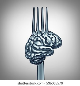 Brain food symbol as a metal fork shaped as a human thinking organ to boost brainpower with nutrition concept for mind health or making wise intelligent eating choices icon as a 3D illustration.