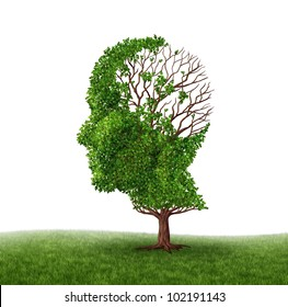 Brain function loss and dealing With dementia and Alzheimer's disease as a medical icon of a tree in the shape of a human head and brain with lost leaves as challenges in intelligence and memory.